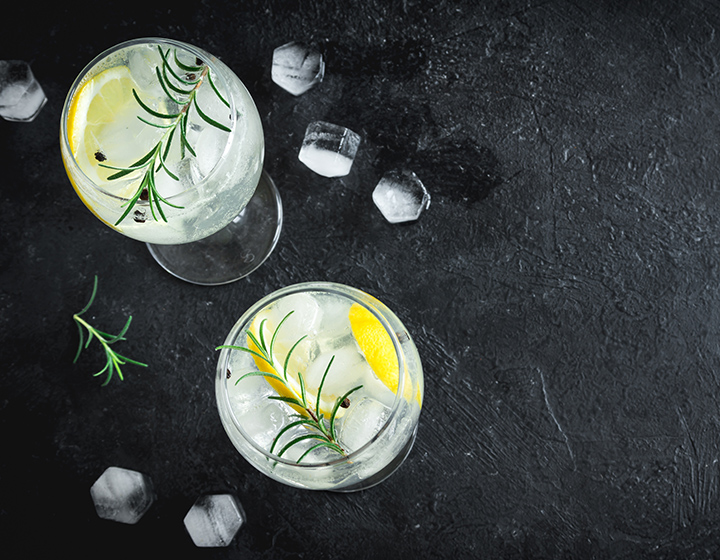 Two glasses of gin and tonic with ice, lemon and a sprig of rosemary