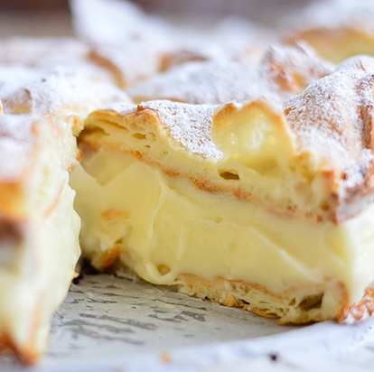 Pastry with a custard cream filling